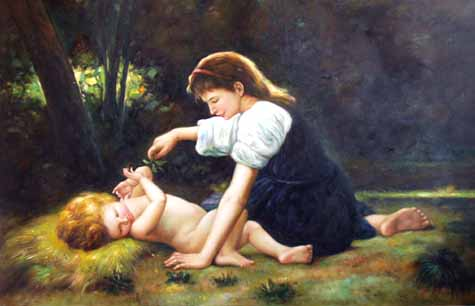 Museum Quality Oil Painting#CST-87:Nature Mother & Child