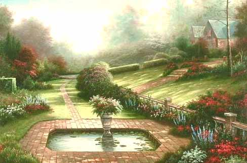 Museum Quality Oil Painting#CST-89:American Landscape Fountain