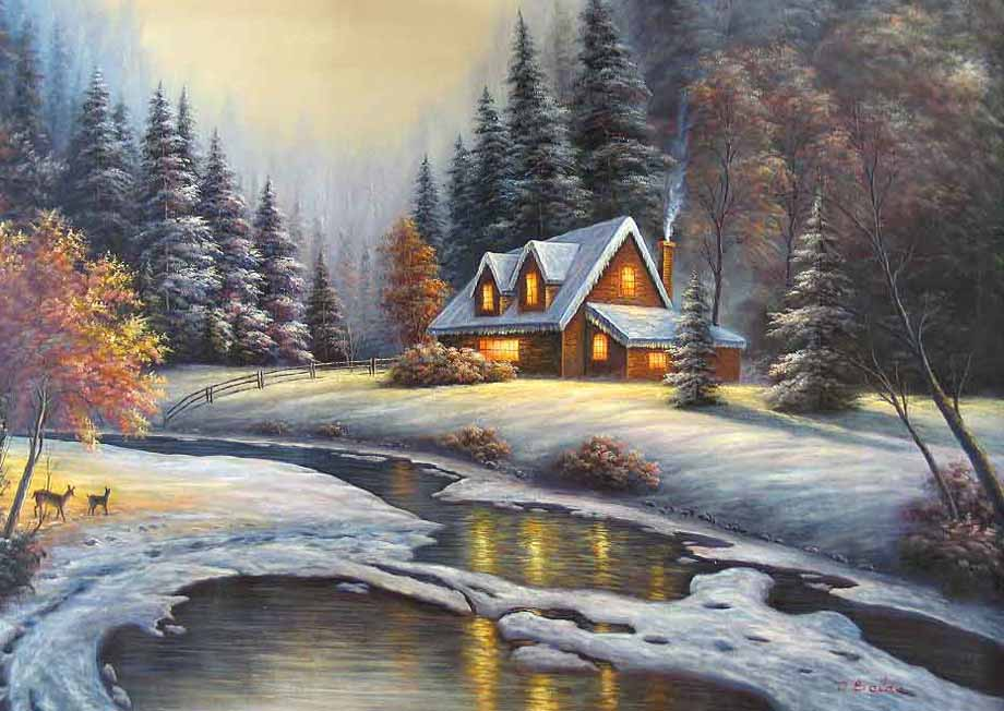 Museum Quality Oil Painting#CST-91:Snowy Cabin Winter Landscape