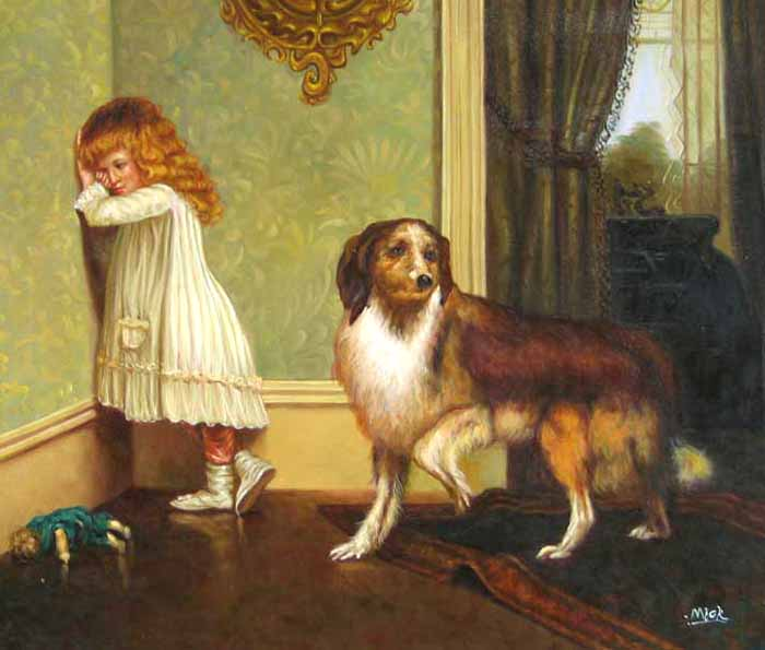 Museum Quality Oil Painting#CST-92:Little Girl with Dog