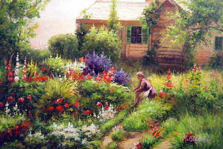 Museum Quality Oil Painting#CST-95:Landscape Cottage  Farm