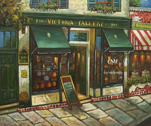 Museum Quality Oil Painting#CST-96:French Cafe Bistro's