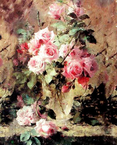 Paintings Images on High Quality Flower Oil Painting  F032 593 Floral Art Pink Flowe