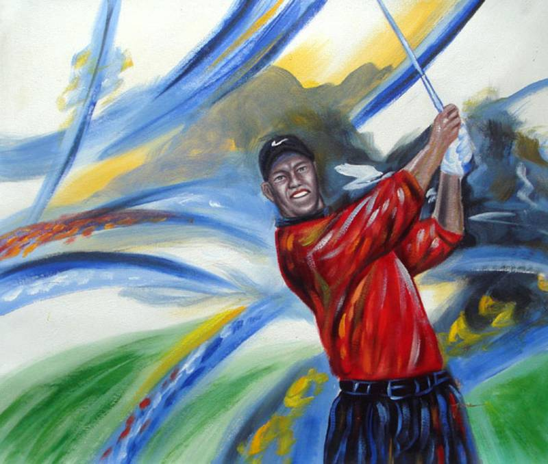 TIGER WOODS PLAYING GOLF MODERN OIL PAINTING