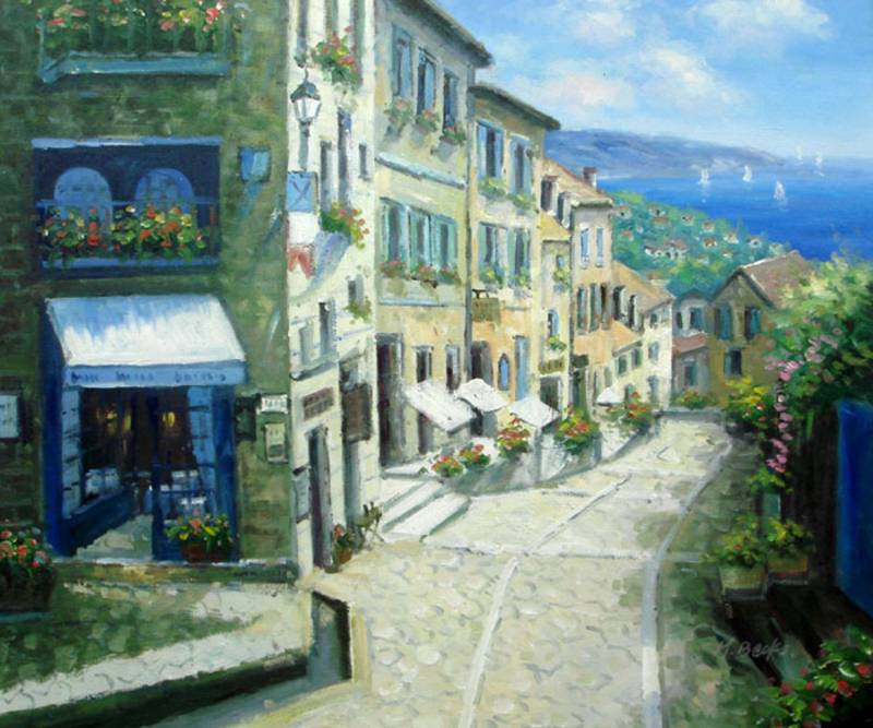 ITALIAN HILLTOP VILLAGE OIL PAINTING