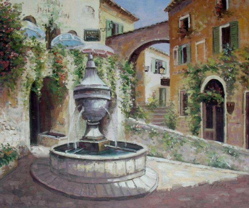 MEXICAN FOUNTAIN MEXICO CITY OIL PAINTING