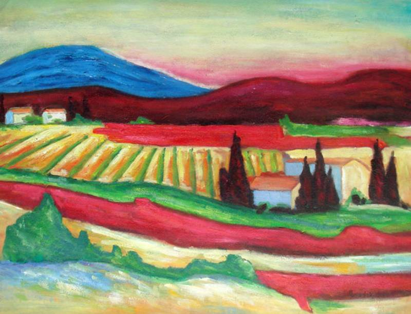 SUMMER IN TUSCANY ITALY LANDSCAPE  OIL PAINTING