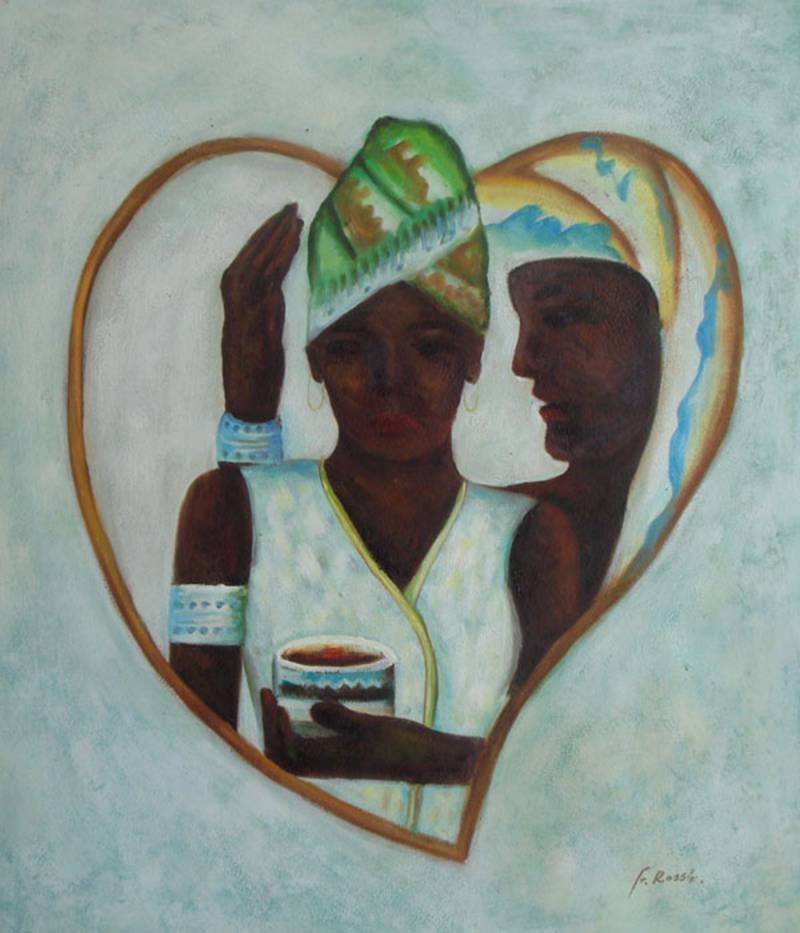 AFRICAN LOVE BLACK ART  OIL PAINTING