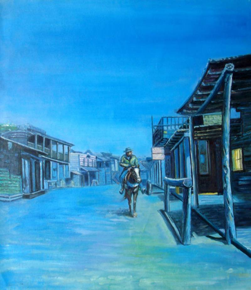 WILD WEST OLD TOWN AT NIGHT OIL PAINTING