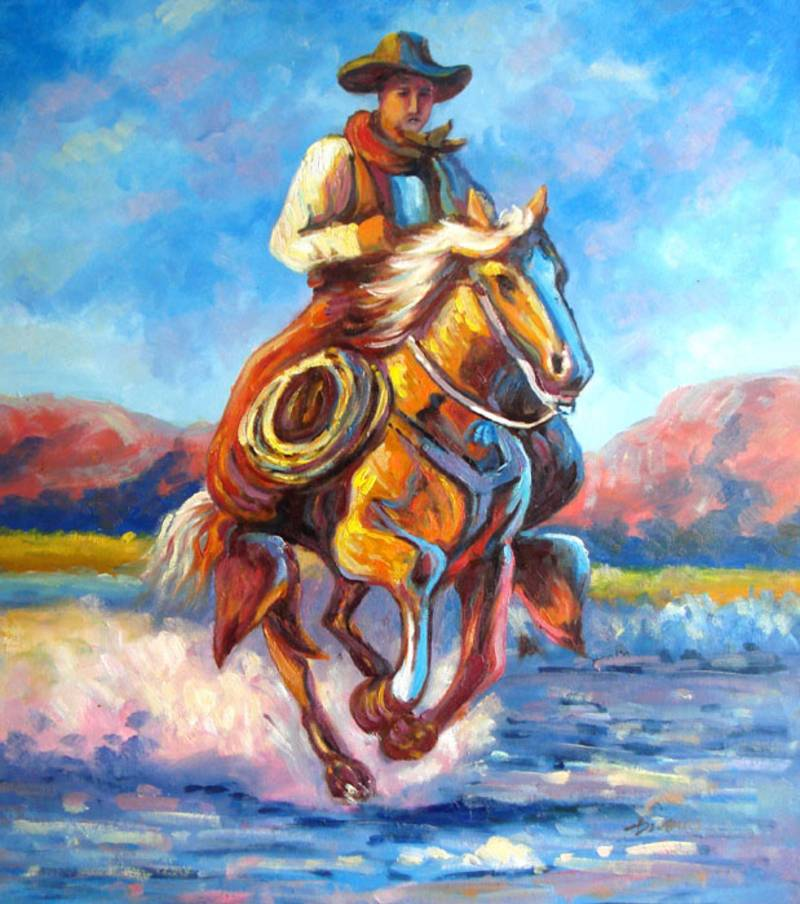 BILLIE THE KID COWABOY HORSE RIDING OIL PAINTING